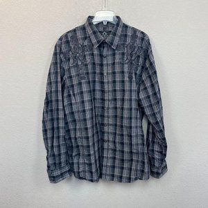 Roar Plaid Withstand Embroidered Button Up Shirt